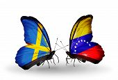 Two Butterflies With Flags On Wings As Symbol Of Relations Sweden And  Venezuela