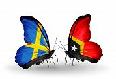 Two Butterflies With Flags On Wings As Symbol Of Relations Sweden And East Timor
