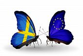 Two Butterflies With Flags On Wings As Symbol Of Relations Sweden And Eu