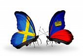 Two Butterflies With Flags On Wings As Symbol Of Relations Sweden And Liechtenstein