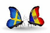 Two Butterflies With Flags On Wings As Symbol Of Relations Sweden And Moldova