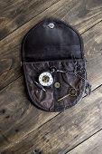 Vintage Pocket Watch, Old Bag And A Brass Key On A Vintage Surface