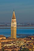 Telephoto aerial view of Venice from Campanila at piazza San Marco