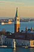 Sunset in Venice, telephoto view of San Giorgio Maggiore church