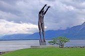 'volleyball' Sculpture At Lake Geneva, Montreux, Switzerland