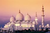 Abu Dhabi Sheikh Zayed Mosque At Sunset