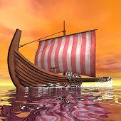 Drakkar or viking ship - 3D render