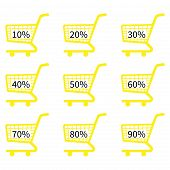 Yellow Shopping Cart Icons With Discount Tags