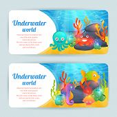 Underwater sea animals horizontal banners set