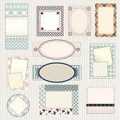 Set of labels quilting design