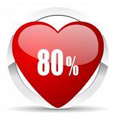80 percent valentine icon sale sign