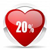 20 percent valentine icon sale sign