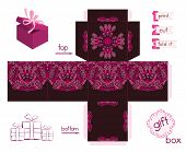 Printable Gift Box With Abstract Lacy Pattern