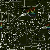 Physics Doodles On School Squared Paper, Seamless Pattern