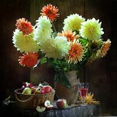 Apples In A Wattled Basket, Wine And Dahlias