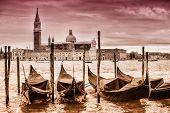 Постер, плакат: Gondolas In Front Of San Giorgio Maggiore Church