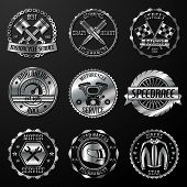 stock photo of motor vehicles  - Motorcycle racing tournament motor service emblems metallic set isolated vector illustration - JPG