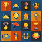 Award icons set flat