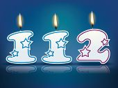 Birthday candle number 112 with flame - eps 10 vector illustration