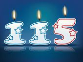 Birthday candle number 115 with flame - eps 10 vector illustration