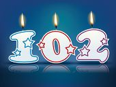 Birthday candle number 102 with flame - eps 10 vector illustration