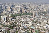 image of smog  - Aerial view of the Santiago city with the blue smog from the San Cristobal Hill - JPG