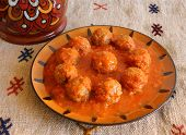 Morocco Tajine of Kafta - Typical Moroccan and Lebanese dish of meatballs.