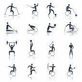pic of handicapped  - Disabled sports icons black set with handicapped athletes skiing cycling powerlifting isolated vector illustration - JPG