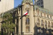 Exterior of the colonial architecture building in Santiago, Chile.