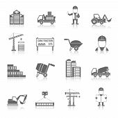 pic of engineering construction  - Construction black icons set with truck crane and workers isolated vector illustration - JPG
