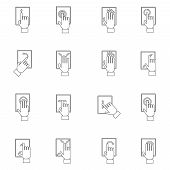 Hand Touching Screen Outline Icon