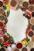 Spice and herb abstract border over parchment background.