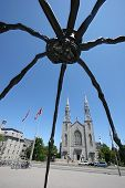 A church and a giant spider