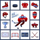 pic of outfits  - Ice hockey icon set with sport uniform protective outfit isolated vector illustration - JPG