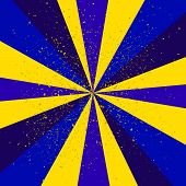 Abstract background blue-yellow of star burst