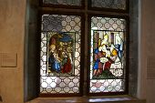stock photo of circumcision  - Stained glass Circumcision of the baby Jesus - JPG