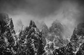 Alpine winter landscape in Transylvania, Romania, Europe