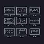 vector collection of web development icons - html, css, tag, mysql, curves, php, script, style, java
