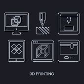 thee D Printing icon set showing manufacturing printers, tablet and computer monitor with modeling p