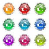 thumb icons set thumb up sign