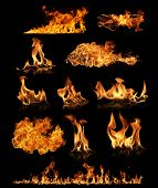 High resolution fire collection isolated ob black background