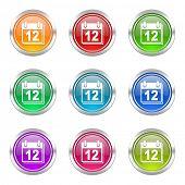 calendar icons set organizer sign agenda symbol
