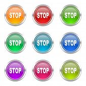 stop icons set