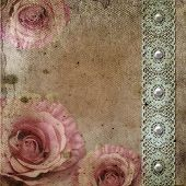 Vintage Background With Roses, Lace  Over Retro Paper