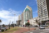 Upper Marine Parade Lined With Hotels At Durban, South Africa