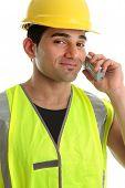 Builder  Tradesman On Telephone poster