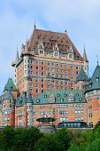 Chateau Frontenac in the day with cloud and blue sky in Quebec City
