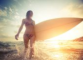 picture of board-walk  - Surfer girl walking with board on the shallow water with water splashes - JPG