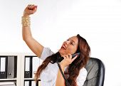Women To Cheer With Uplifted Arm In The Office
