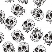 weird skull seamless pattern on white